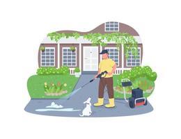 banner da web de vetor 2d, limpeza de calçadas com pistola de lavagem potente