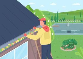 limpeza de folhas de ilustração em vetor cor plana de telhado de casa