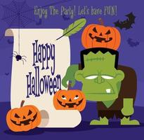 feliz Dia das Bruxas. personagem monstro verde segurando abóbora de halloween com pergaminho de papel retrô vetor
