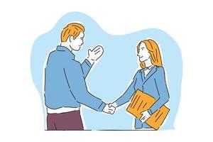 empresário e mulher de negócios lidar ilustração mão desenhar vetor