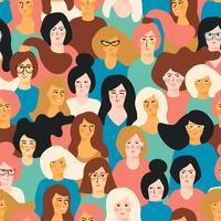 Dia Internacional da Mulher. Padrão sem emenda de vetor com rostos de mulheres.