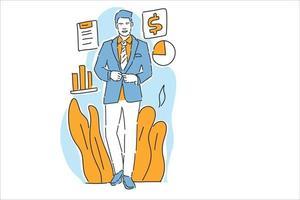 empresário feliz com lucro negócio ilustração mão desenhar vetor