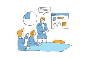 três pessoas se encontrando para ilustração de estratégia de negócios desenho manual vetor