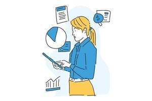 mulher de negócios verifica relatório ilustração de negócios desenho manual vetor