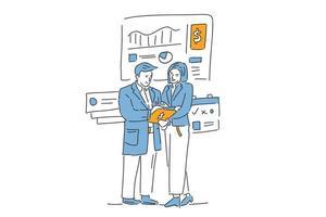 homem e mulher lêem relatório de negócios ilustração desenho à mão vetor