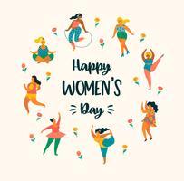 Dia Internacional da Mulher. Modelo de vetor com mulheres bonitos.