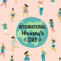 Dia Internacional da Mulher. Ilustração vetorial com mulheres a dançar. vetor