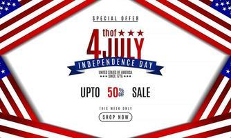 4 de julho. Dia da Independência, plano de fundo, promoção de vendas, banner, modelo vetor