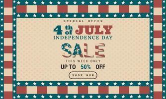 4 de julho. projeto de plano de fundo do dia da independência em estilo retro. modelo de banner de publicidade de promoção de vendas vetor