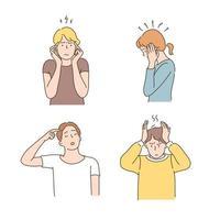 gestos de pessoas expressando dor de cabeça e barulho. vetor