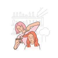 uma cabeleireira está cortando o cabelo de uma cliente. vetor