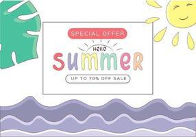 modelo de banner de venda de verão com mar, sol e folhas tropicais. letras coloridas. ilustração vetorial no estilo cartoon vetor
