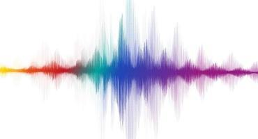onda sonora digital colorida do equalizador no vetor de fundo branco.