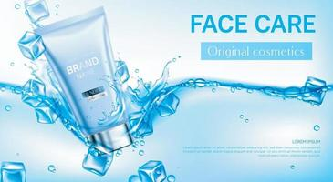 Cosmético para cuidados faciais com maquete de banner de cubos de gelo vetor