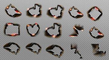 vetor queimar papel de fogo com bordas carbonizadas realistas