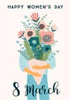 Dia Internacional da Mulher. Modelo de vetor com buquê de flores.