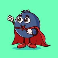 personagem de fruta de mirtilo fofo com fantasia de super-herói e tentando voar. conceito de ícone de personagem de fruta isolado. adesivo de emoji. vetor de estilo cartoon plana