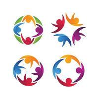 Conjunto de modelos de logotipo de equipe de fundação humana da unidade vetor