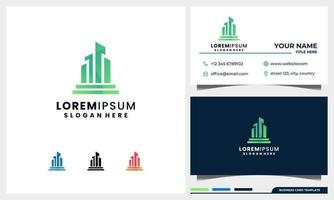 construção de logotipo, arquitetura e propriedade, design de logotipo da cidade com modelo de cartão de visita vetor