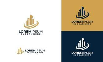construção de arquitetura de logotipo e modelo de design de logotipo de propriedade da cidade vetor