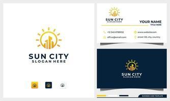 construção de logotipo com conceito de sol e modelo de design de cartão de visita vetor