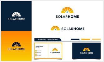 painel solar com conceito de logotipo de casa e modelo de cartão de visita vetor