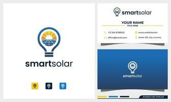 painel solar e logotipo de energia solar com design de logotipo de conceito de lâmpada e modelo de cartão de visita vetor