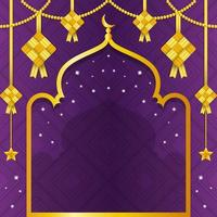 fundo gradiente de ketupat roxo com reflexos dourados vetor