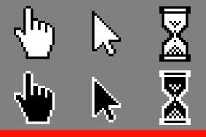 cursores de seta branca e preta e ícones de cursores de mão vetor