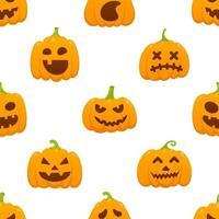 padrão sem emenda com padrão laranja de halloween com rostos assustadores vetor