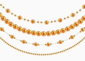 guirlandas de cordas com bolas, isoladas no fundo branco. ilustração vetorial vetor