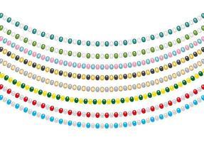 decorações de natal, guirlandas de cordas com bolas, isoladas no fundo branco. ilustração vetorial vetor