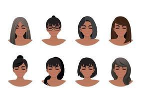 coleção de estilos de cabelo de mulheres afro-americanas. ilustração vetorial de avatares de mulheres negras vetor