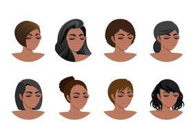 coleção de estilos de cabelo de mulheres afro-americanas. mulheres negras 3-4 ver ilustração vetorial de avatares vetor