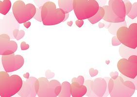 Fundo de dia dos namorados com borda de corações vetor