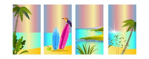 conjunto de fundos de verão, tucano, prancha de surf, palmeiras, praia, ilha, oceano. pôsteres de férias tropicais vetor