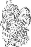 componentes do motor do carro doodle esboço estilo de caligrafia vetor