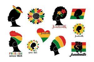 conjunto de bandeiras juneteenth com silhueta de mulher africana, bandeira colorida, coração, girassóis isolados no fundo branco. ilustração em vetor plana. design para pano de fundo, cartaz, cartão, folheto