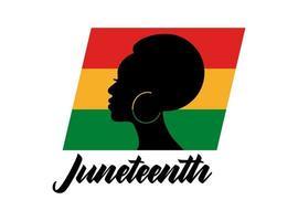citação de juneteenth com silhueta de mulher africana e bandeira colorida isolada no fundo branco. ilustração em vetor plana. design para banner, cartaz, cartão, folheto