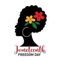 citação do dia da liberdade de junho com mulher africana e flores coloridas, isoladas no fundo branco. ilustração em vetor plana. design para banner, cartaz, cartão, folheto