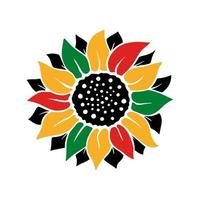 Girassol colorido com a cor da bandeira do dia da liberdade de junho isolado no fundo branco. ilustração em vetor plana. design para banner, cartaz, cartão, folheto