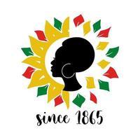 citação de décimo terceiro com mulher africana e girassol colorido isolado no fundo branco. ilustração em vetor plana. design para banner, cartaz, cartão, folheto