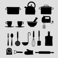 coleção de silhuetas de utensílios de cozinha vetor