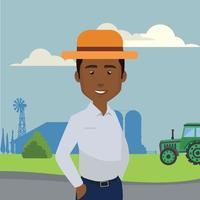 ilustração de agrônomo em uma empresa de silos vetor