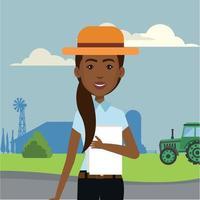 ilustração de uma engenheira agrônoma em uma empresa de silos vetor