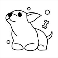 ícone de ilustração vetorial bonito dos desenhos animados de um cachorrinho chihuahua. é um estilo de contorno. vetor