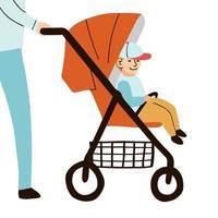 ilustração colorida do vetor menino sentado no carrinho de bebê