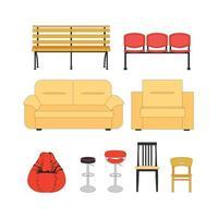 conjunto colorido de assentos. conjunto de ícones de cadeira de mobília moderna e sofá. vetor. ilustração vetor