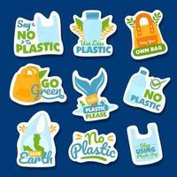 sem coleção de adesivos de plástico vetor