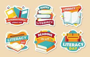 coleção de adesivos de alfabetização vetor